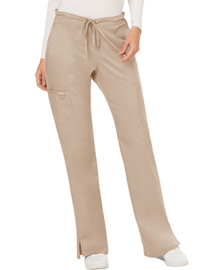 Picture of CHEROKEE-CH-WW120P-Cherokee Workwear Revolution Womens Mid Rise Moderate Flare Drawstring Petite Pant