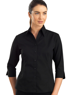 Picture of John Kevin Uniforms-100 Black-Womens 3/4 Sleeve Poplin