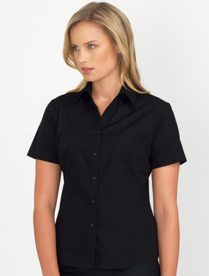 Picture of John Kevin Uniforms-102 Black-Womens Short Sleeve Poplin