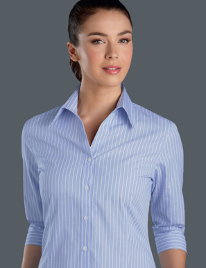 Picture of John Kevin Uniforms-118 Blue-Womens 3/4 Sleeve Pinfeather Stripe