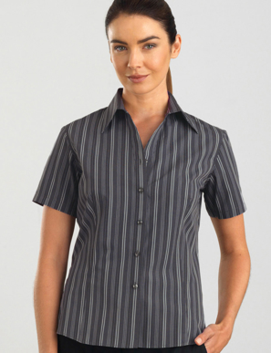 Picture of John Kevin Uniforms-125 Dark Grey-Womens Short Sleeve Multi Stripe