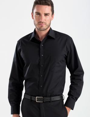 Picture of John Kevin Uniforms-200 Black-Mens Long Sleeve Poplin