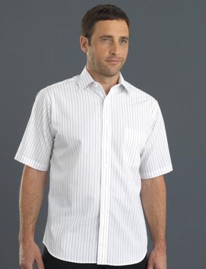 Picture of John Kevin Uniforms-209 Grey-Men's Short Sleeve Classic Stripe