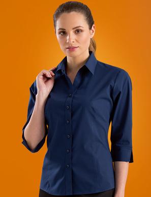 Picture of John Kevin Uniforms-500 Deep Blue-Womens Stretch SlimFit 3/4 Sleeve Poplin