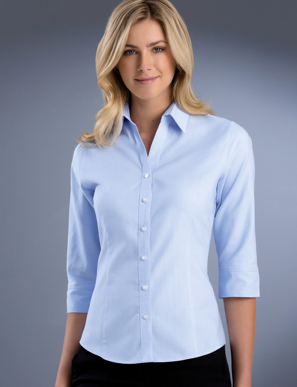 Picture of John Kevin Uniforms-738 Sky-Womens Slim Fit 3/4 Sleeve Pinpoint Oxford