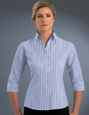 Picture of John Kevin Uniforms-322 Plum-Womens 3/4 Sleeve Fashion Stripe