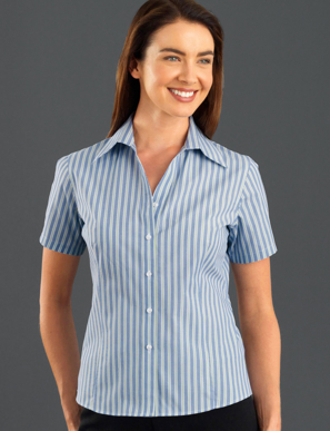 Picture of John Kevin Uniforms-323 Forest-Womens Short Sleeve Fashion Stripe