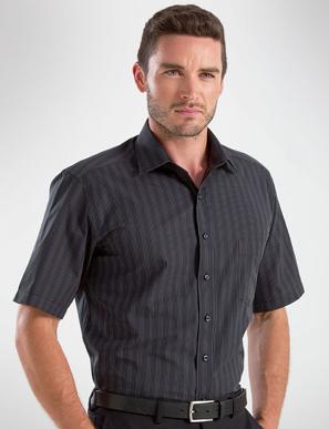 Picture of John Kevin Uniforms-453 Black-Mens Short Sleeve Dark Stripe