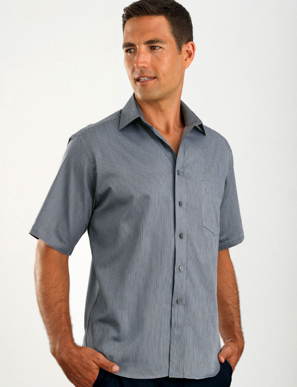 Picture of John Kevin Uniforms-463 Gunmetal-Mens Short Sleeve Pin Stripe