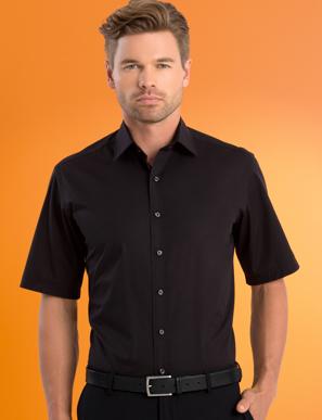 Picture of John Kevin Uniforms-601 Black-Mens Stretch Slim Fit Short Sleeve Poplin