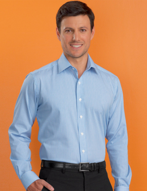 Picture of John Kevin Uniforms-620 Sky-Mens Stretch Slim Fit L/S Bengal Stripe