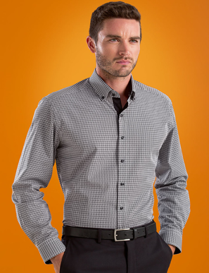 Picture of John Kevin Uniforms-630 Black-Mens Stretch Slim Fit L/S Dobby Check
