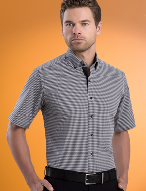 Picture of John Kevin Uniforms-631 Black-Mens Stretch Slim Fit S/S Dobby Check