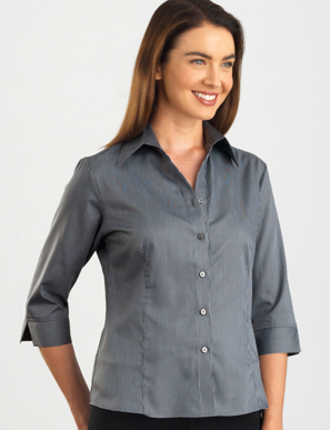 Picture of John Kevin Uniforms-362 Gunmetal-Womens 3/4 Sleeve Pinstripe