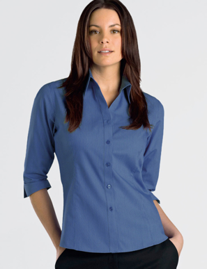 Picture of John Kevin Uniforms-364 Sapphire-Womens 3/4 Sleeve Tonal Stripe