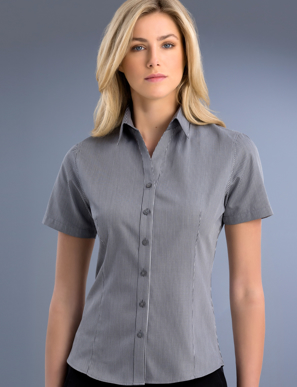 Picture of John Kevin Uniforms-763 Gunmetal-Womens Slim Fit Short Sleeve Pinstripe