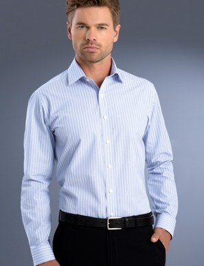 Picture of John Kevin Uniforms-818 Blue-Mens Slim Fit Long Sleeve Pinfeather