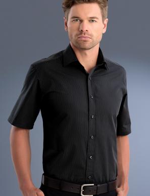 Picture of John Kevin Uniforms-837 Charcoal-Mens Slim Fit Long Sleeve Dark Stripe