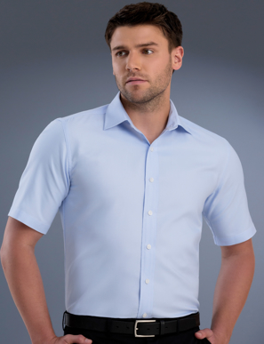 Picture of John Kevin Uniforms-839 Sky-Mens Slim Fit Short Sleeve Pinpoint Oxford