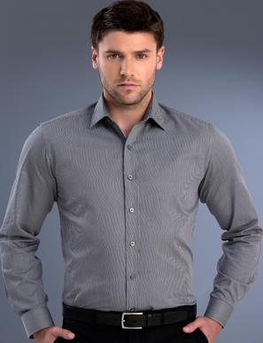 Picture of John Kevin Uniforms-862 Gunmetal-Mens Slim Fit Long Sleeve Pinstripe