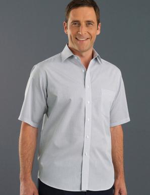 Picture of John Kevin Uniforms-425 Grey-Mens Short Sleeve Mini Check